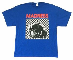 Madness-One-Step-Beyond-Band-Image-Blue-T-Shirt-New-Official-Ska-Band
