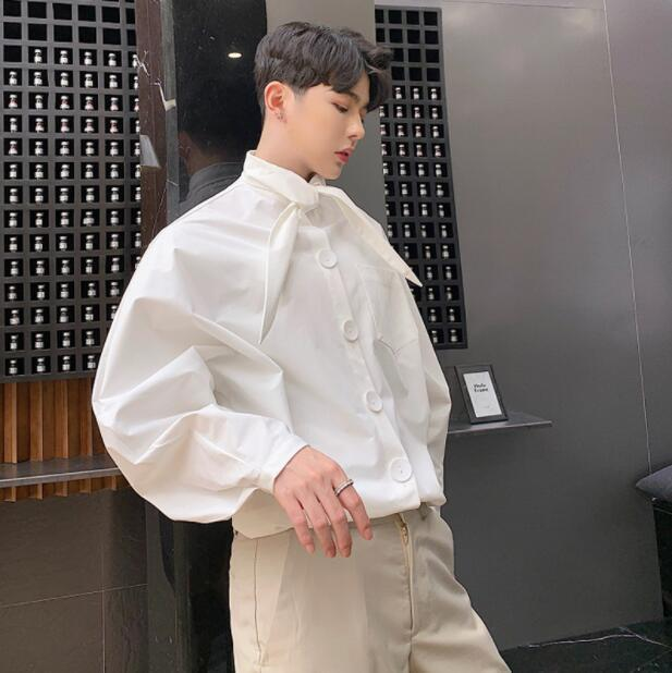 72a30aad5 Men's Trendy Bowknot Tie Loose Batwing Sleeve Shirt Youth Casual White  Blouses