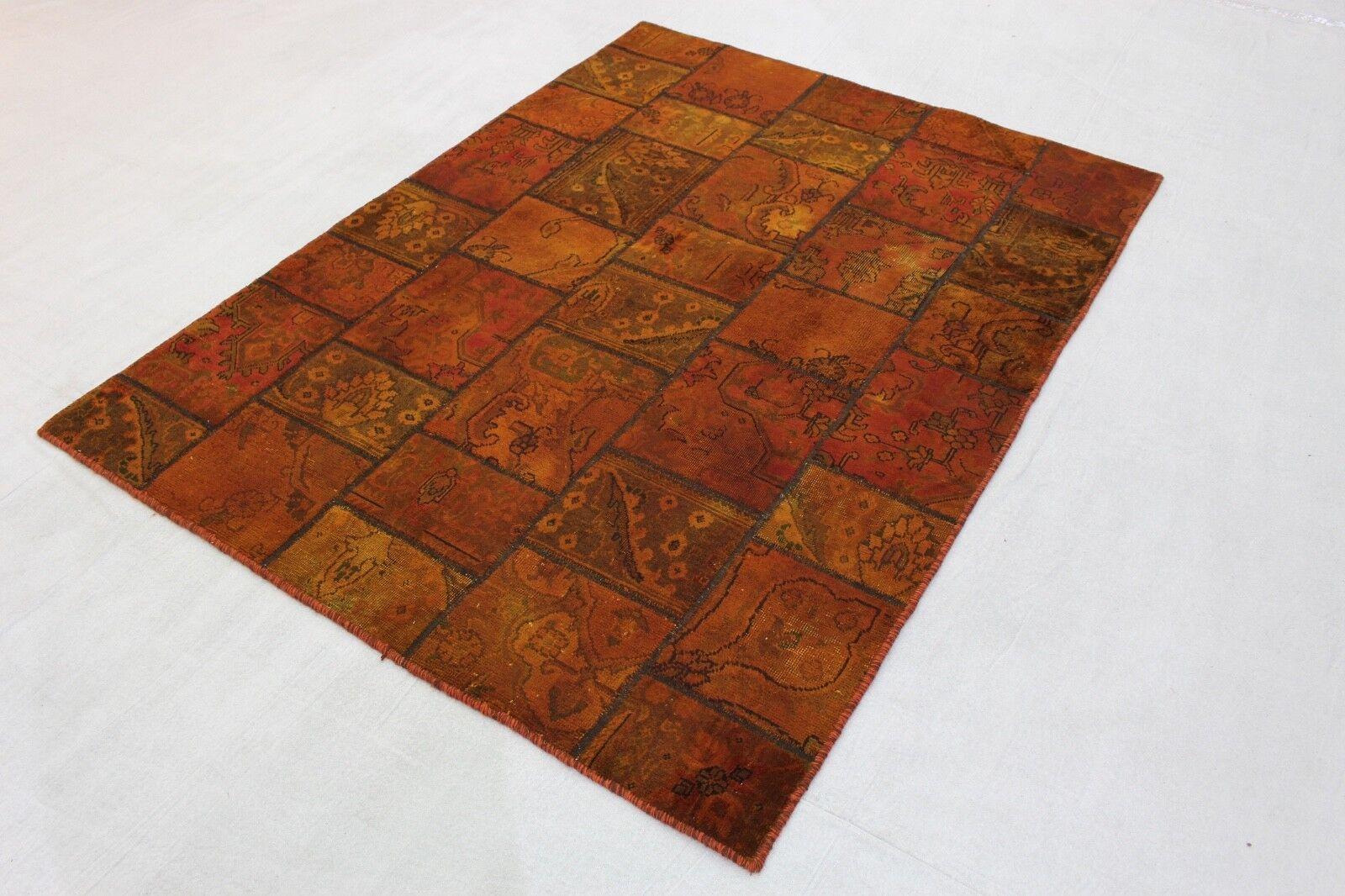 Patchwork Orient Orient Orient Teppich Vintage Perser 200x150 Orange braun handgeknüpft 2035 248c7e