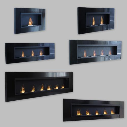 LUXE Cheminée Bio Ethanol Gelkamin wandkamin Cheminée Noir Brillant Fireplace