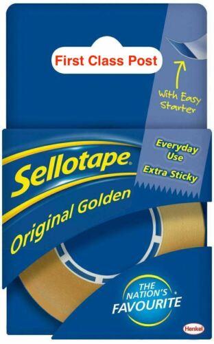 Sellotape ORIGINAL GOLDEN Clair Ruban Extra Sticky /& Fort Facile Tear 18 mm x 25 m