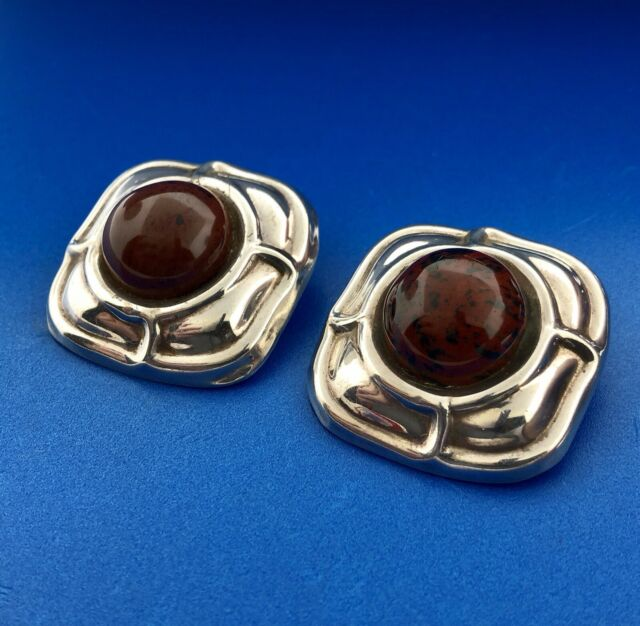 Vintage Mexico Sterling Silver 925 Brown Jasper Womens