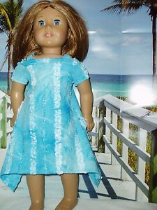 Blue-Ruffle-Dress-with-Peek-a-Boo-sleeves-Fits-American-Girl-18-034-Doll-Clothes