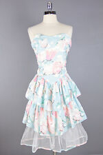 VTG 80s Lovely *PINK TULIPS* Sky Blue TIERED Strapless Cocktail PARTY DRESS XS-S