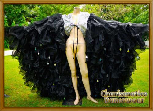 Black Organza CABARET Drag queen Ruffle LARGE WING Coat