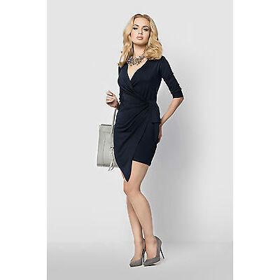 Womens Asymmetric Wrap Dress V Neck 3/4 Sleeve Tied Dress Plus Sizes 8 - 18 FM14