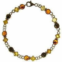 8 Inch/20cm Baltic Amber Sterling Silver 925 Ladies Bracelet Jewellery Jewelry