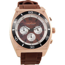 Caravelle New York Chrono Analog Display Japanese Quartz Brown Mens Watch 45A114