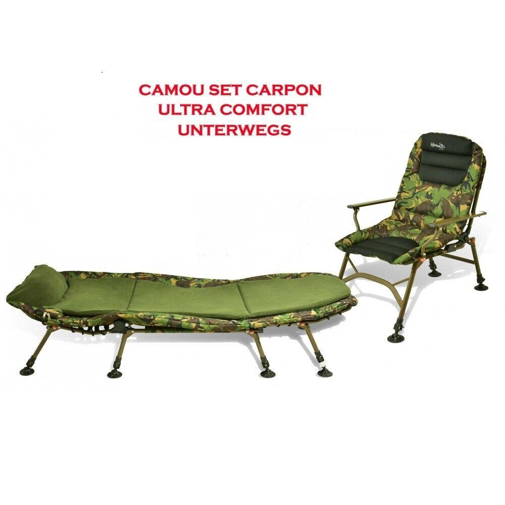 Carpon Camou Set ULTRA COMFORT Angel sedia  Carpa Lettino da campeggio