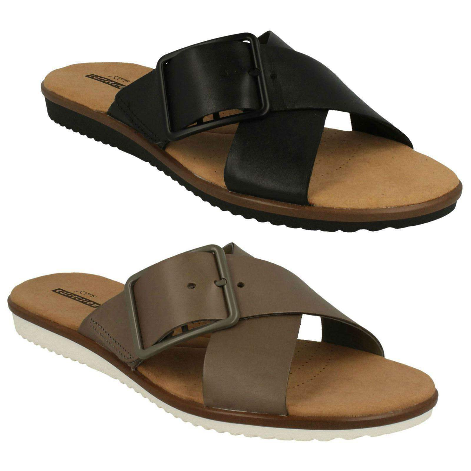 LADIES CLARKS LEATHER SLIP ON BUCKLE FLAT MULE CASUAL SANDALS Schuhe KELE HEATHER