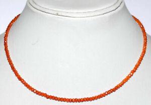 925-Sterling-Silver-Orange-Zircon-Gemstone-Round-Cut-Beads-Fine-Jewelry-Necklace