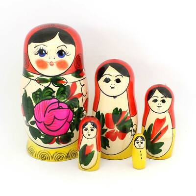 Hand painted in Russia 4/'/' Russian Semenov Nesting dolls Matryoshka set 5 pcs