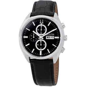 Bulova-Classic-Chronograph-Black-Dial-Men-039-s-Watch-96C133