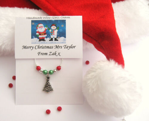 Personalised Christmas Wine Glass Charm Stocking//Teacher//Gift//Thank You