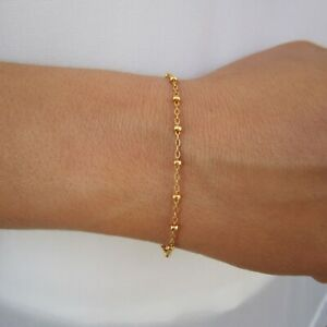 fc2e5e9d34a08 Details about Dainty Gold Chain Bracelet Satellite Ball Chain all Length  Available
