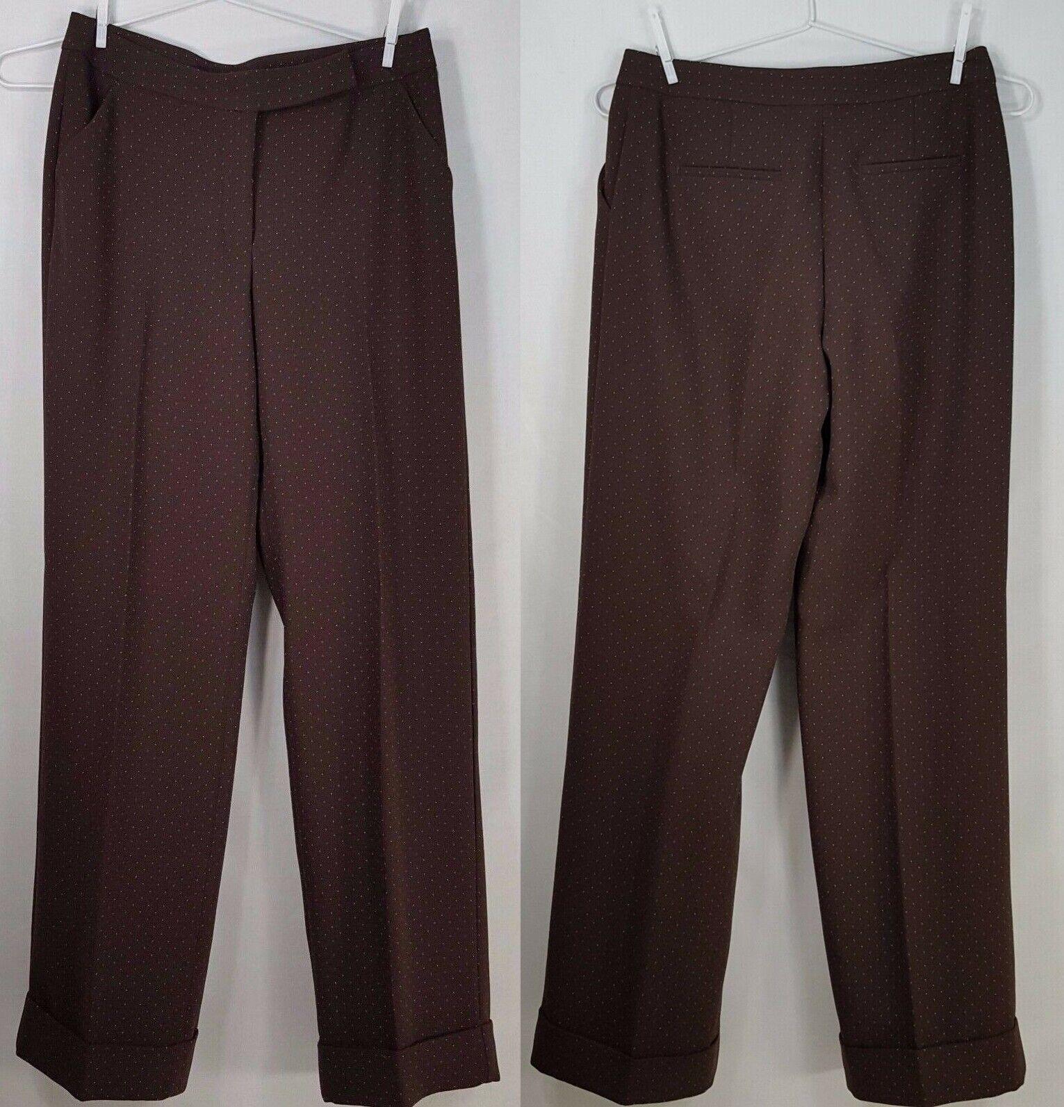 NOS Vtg Moda international Wide Leg Pants Größe 8 braun Pin Polka Dot Cuffed