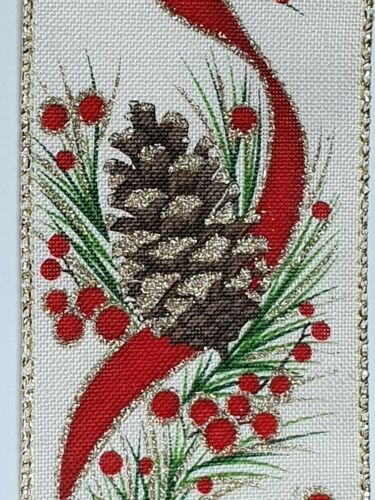 """Luxury 2.5/"""" christmas ribbon crafts rustic gold glittered pine cone per metre"""