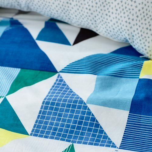 QUILT COVER SET BNIP navy Jnr Bed ADAIRS KIDS Concord triangles geometric COT
