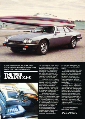 1988 Jaguar XJS XJ-S Coupe Vintage Advertisement Car Print Ad J392