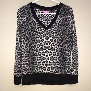 Betsey-Johnson-Black-Gray-Animal-Print-Long-Sleeve-V-Neck-Top-Small