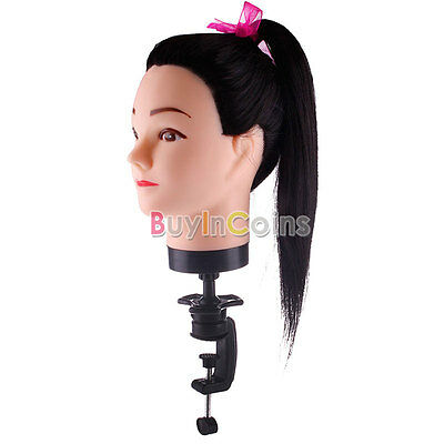 Synthetic Head Hairdressing Human Hair Mannequin Clamp Practice Model Train HFAU