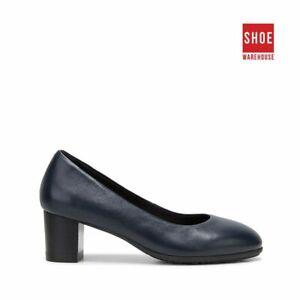 Hush Puppies THE BLOCK HEEL Navy Womens Heels Corporate Leather Heels