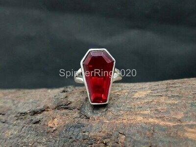 925 Silver Ring Handmade Ring Statement Ring Boho Ring Gemstone Ring Garnet Coffin Ring Gift For Her Women Ring Engagement Gift Ring