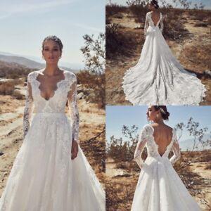 Beach-Long-Sleeves-Wedding-Dresses-V-Back-Train-Lace-Bridal-Gown-A-line-Plus-SZ