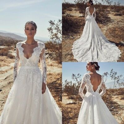 Beach Long Sleeves Wedding Dresses V Back Train Lace Bridal Gown A Line Plus Sz Ebay