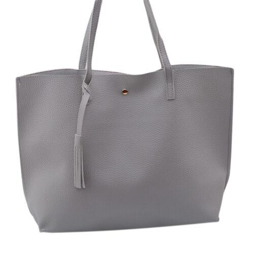 Women Solid Color Casual tote Shoulder Messenger bags Large Capacity Handbags WA