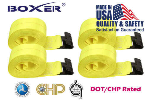"""4 Boxer 4/""""x30/' Winch Strap W// Flat Hook Flatbed Truck Tie Down 5400LB US Made"""