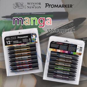 Winsor & Newton Promarker Twin Tip Permanent Marker Pen 12+1 Manga Steampunk Set 884955044667