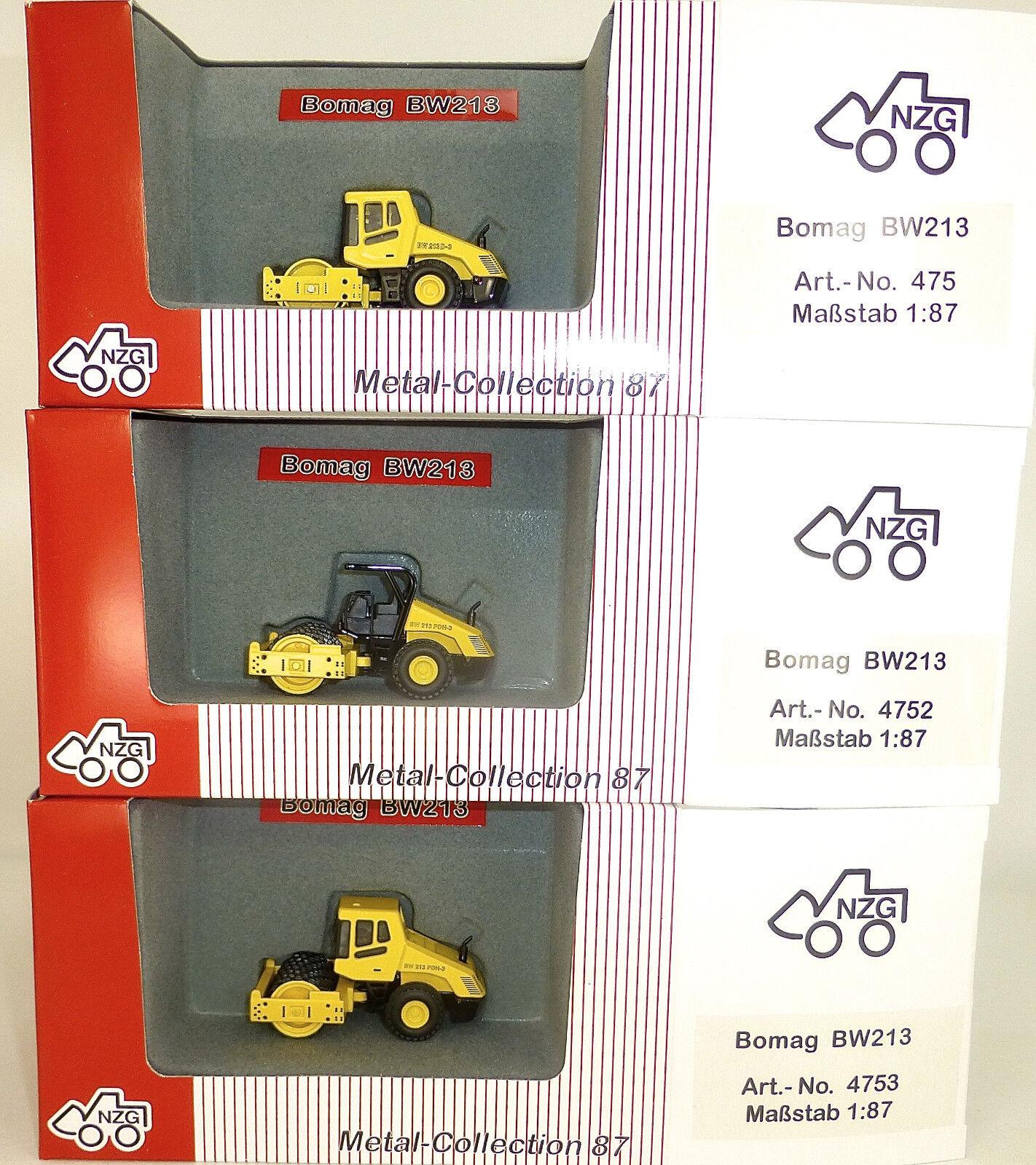 3 x Bomag Straßenwalze yellow NZG 475 4752 4753 Metall Collection 1 87 OVP µ