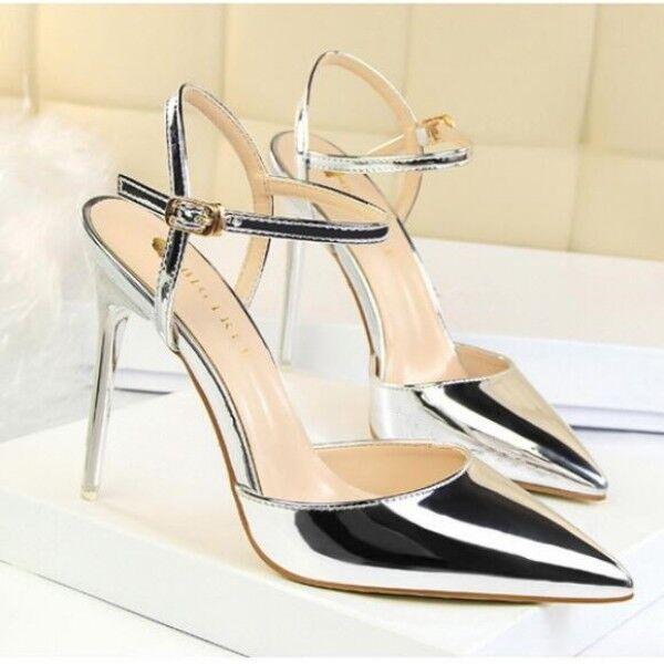 pumps sandalen ferse 10 cm elegant stilett silber simil leder komfortabel 9492