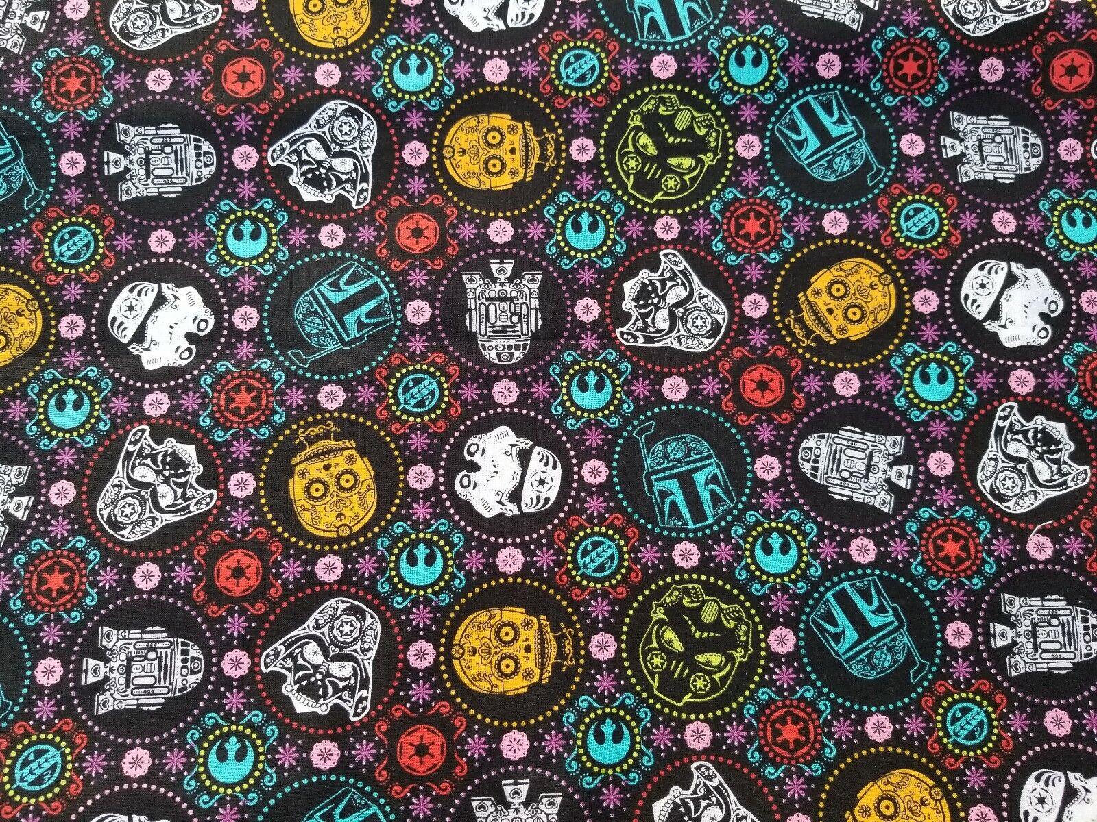 Star Wars R2d2 And C3po Sugar Skulls Cotton Fabric 8 Yards For Sale Online Ebay