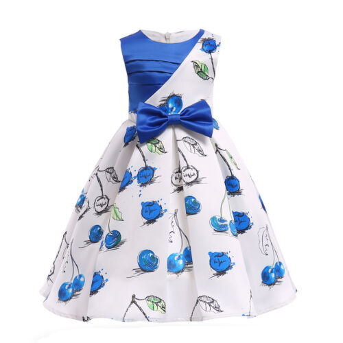 2018 Kids Girl Floral Printed Dress Party Formal Wedding Birthday Princess Dress