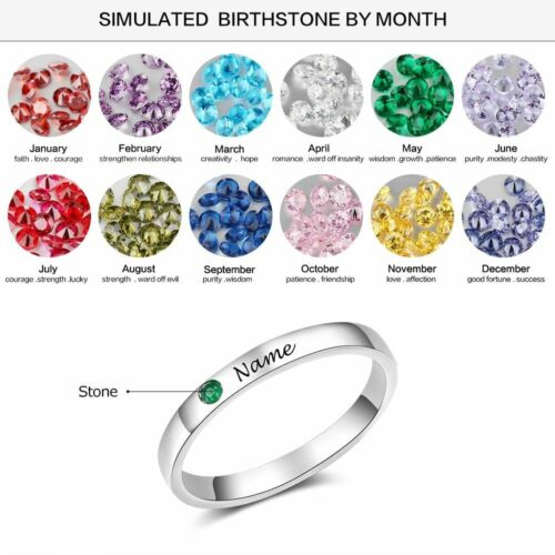 Personalized Name Real 925 Sterling Silver Ring Birthstone Noble Jewelry