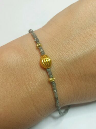 Genuine 6ct gray silver faceted Diamond 18k 14k gold bracelet