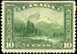 Canada-155-mint-F-VF-OG-NH-1928-Scroll-Issue-10c-green-Mount-Hurd-BC-CV-39-00