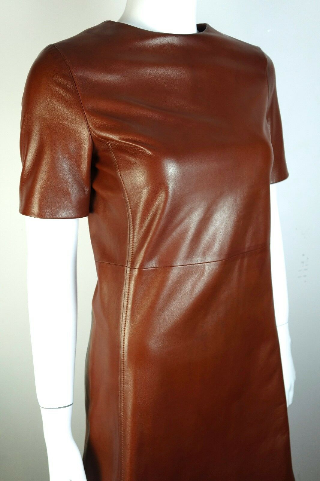 PRADA Brown Buffed Nappa Leather Mini Dress IT38 US4 US4 US4 NWT 0e97c6