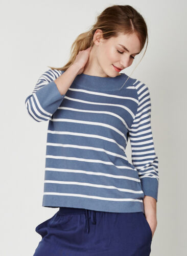Thought Blue Striped Sweater Jumper Stripe Top 3//4 Sleeve Organic Cotton Eco