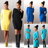 Womens Long Sleeve Pocket Mini Dress Ladies Casual Sport Pullover Jumper Dress
