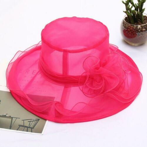 Elegant Women Lace Wide Brim Kentucky Derby Sun Hat Wedding Tea Party Church Cap