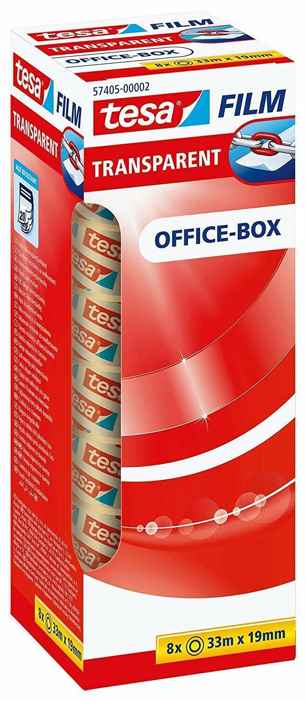 8x tesafilm in OfficeBox 19mm x 33m transparent Klebefilm Klebeband Schreibwaren