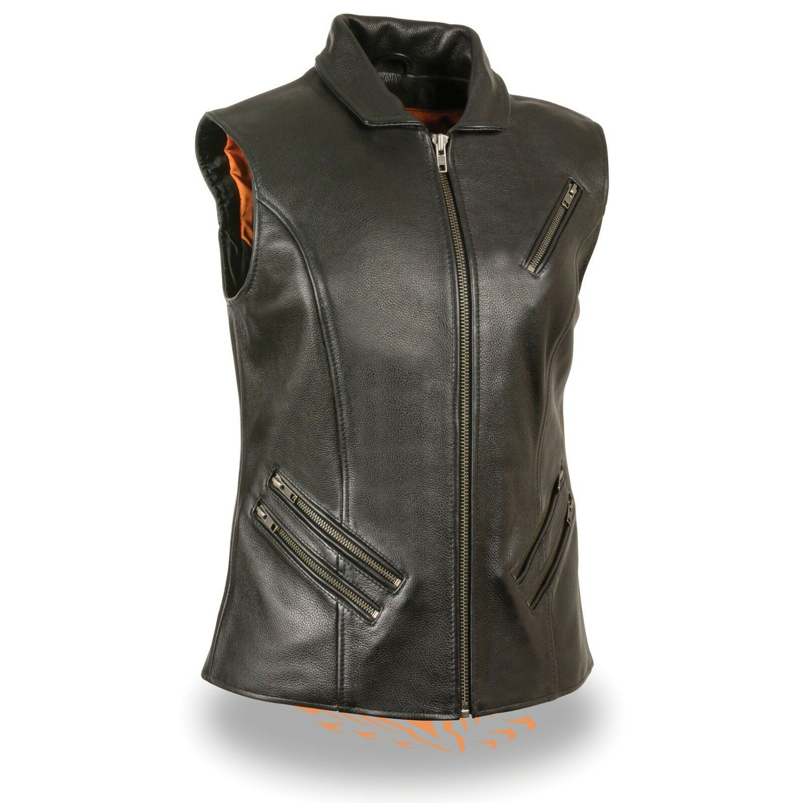 Milwaukee Leather Ladies Extra Long - Zipper Front Vest w  Collar  MLL4520 BLK