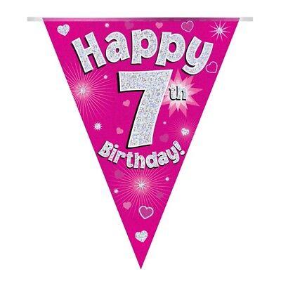 Bellissimo Cuori Rosa Olografico Felice 7th Compleanno Bandiera Striscione Di Bandierine | | Decorazione-mostra Il Titolo Originale Estremamente Efficiente Nel Preservare Il Calore