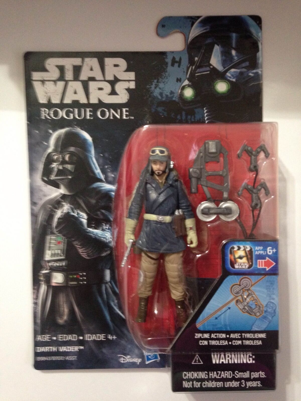 Star Wars Rogue One Captain Cassian Andor (EADU)Figure-ERROR on Darth Vader Card