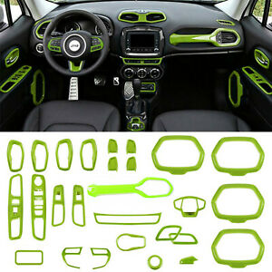 28x Green ABS Interior Accessories Parts Decoration Cover Trim For Jeep Renegade
