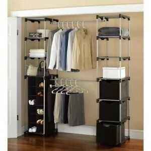 Superieur Details About Closet Rod Double Garment Rack Hanging Portable Wardrobe  Shelf Organizer Metal