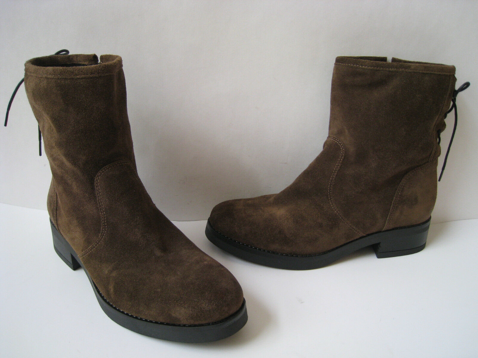 ANNA FIDANZA BROWN SUEDE LEATHER ANKLE BOOT SIZE US 7  MADE IN ITALY